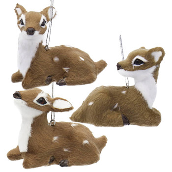3 pc Fuzzy Lying Down Baby Deer Ornaments SET