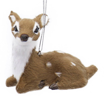 Small Fuzzy Lying Down Spotted Baby Deer Ornament Forward Left Side