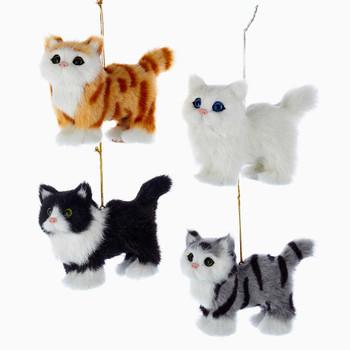 4 pc SET Plush Fuzzy Standing Cat Ornaments