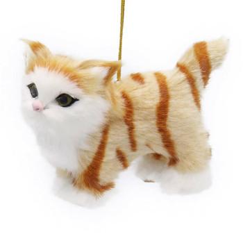 Plush Fuzzy Standing Orange Tabby Cat Ornament