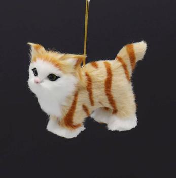 Plush Fuzzy Standing Orange Tabby Cat Ornament Right Side