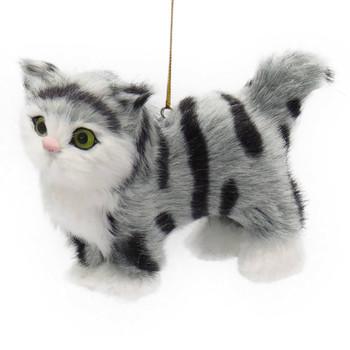 "Plush Fuzzy Standing Gray Tabby Cat Ornament, 4 1/4 x 3 3/8"", KAC4762-gray"