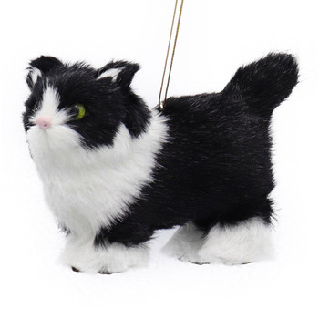 Plush Fuzzy Standing Black and White Cat Ornament