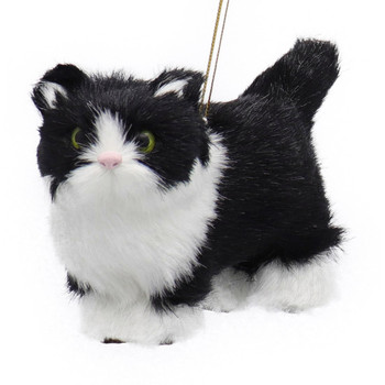 Plush Fuzzy Standing Black and White Cat Ornament Front