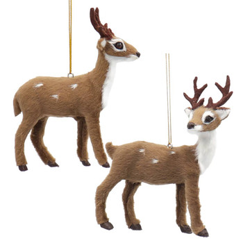 Plush Standing Spotted Deer with Antlers Ornament
