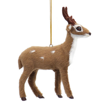 Plush Standing Spotted Deer with Antlers Ornament Forward Side