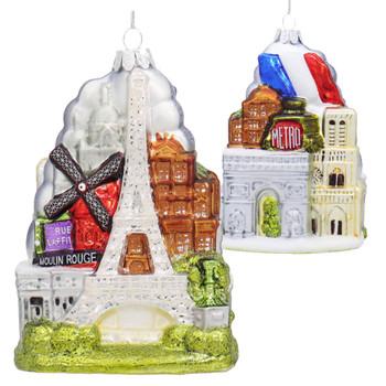 Paris City Highlights Glass Ornament