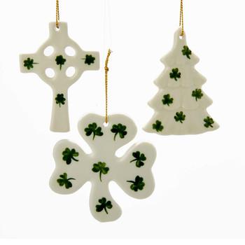 3 pc Porcelain Irish Shamrock Themed Ornaments SET