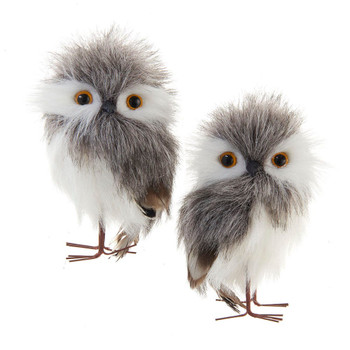 2 pc Furry Gray and White Owl with Legs and Feather Ornaments SET