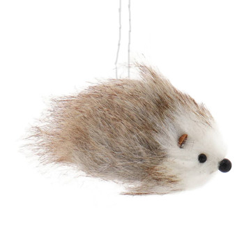 Fuzzy Brown and White Hedgehog Ornament Brown Right Side