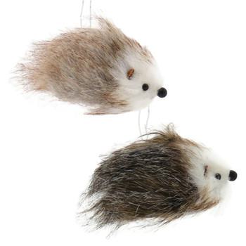 2 pc Fuzzy Brown and White Hedgehog Ornaments SET