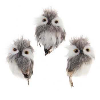 3 pc Adorable Furry Gray and White Owl with Feathers Ornament SET