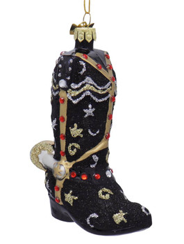 Cowboy Boot with Spur Glass Ornament Black Toe Front Side