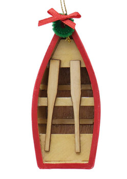 2 pc Wooden Row Boat Ornaments SET Side Front