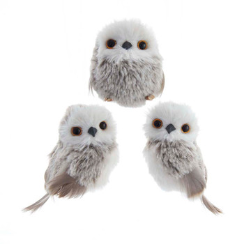 3 pc Adorable Fluffy Brown Tones and White Owl with Feathers Ornament SET