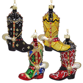 4 pc Cowboy Boot with Spur Glass Ornaments SET