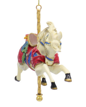 Carousel White Horse Ornament Front