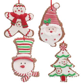 4 pc Festive Cut Out Cookie Ornaments SET