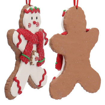 Festive Gingerbread Boy Cut Out Cookie Ornament Side Back