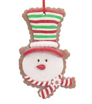 Festive Snowman Head Cut Out Cookie Ornament