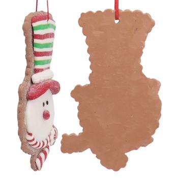 Festive Snowman Head Cut Out Cookie Ornament Side Back
