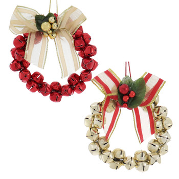 2 pc Metal Gold and Red Wreath W/Bell Ornaments