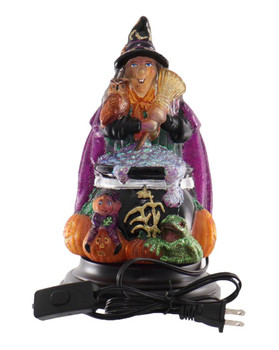 Witch w/ Cauldron Halloween Electric Table Top Glass Night Light
