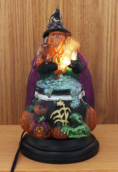 Witch w/ Cauldron Halloween Electric Table Top Glass Night Light Front