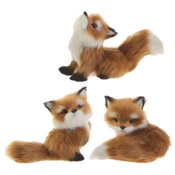 2 pc Furry Little Brown Fox Ornaments SET