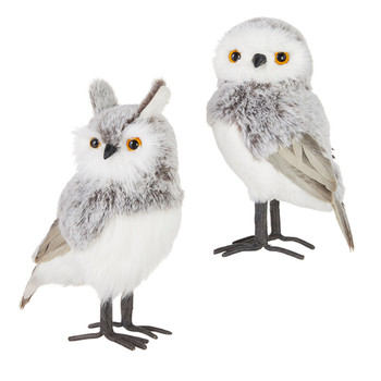 2 pc Chalet Grey, White Fluff and Feathers Owl Figurines SET
