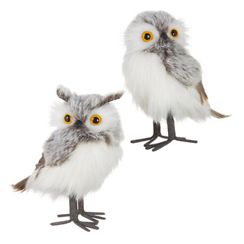 Chalet Grey, White Fluff and Feathers Owl Figurine Medium