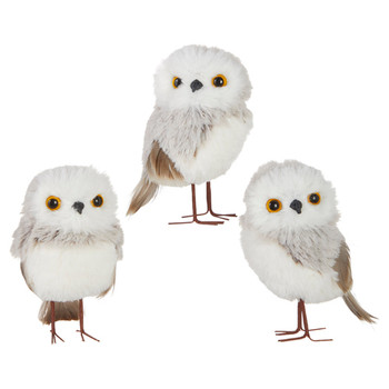 3 pc Chalet Grey, White Fluff and Feathers Owl Ornaments with Legs SET