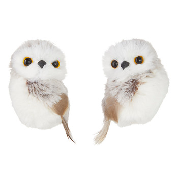 2 pc Chalet Grey, White Fluff and Feathers Owl Ornaments SET