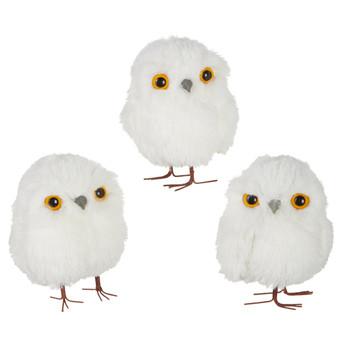 Fun White Fluff Round Baby Owl Ornament with Leg