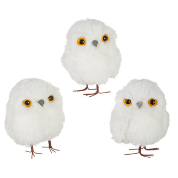 3 pc Fun White Fluff Round Baby Owl Ornaments with Legs SET