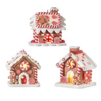 3pc Battery Op with Timer Lighted Gingerbread House Ornaments SET