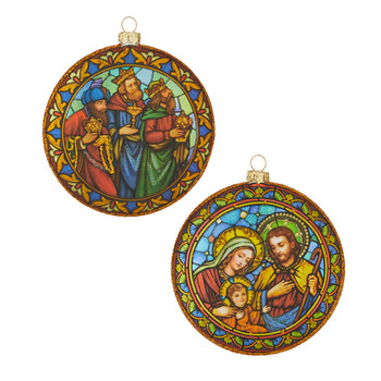 2 pc Stained Glass Pattern Nativity Glass Ornament Disc SET