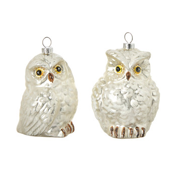 2 pc White Frosted Glass Owl Ornaments SET