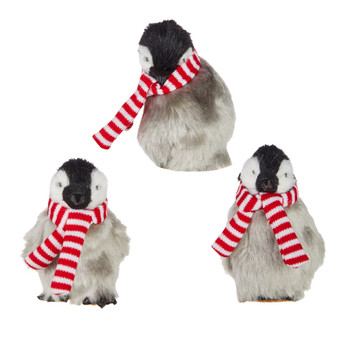 3 pc Striped Scarf Arctic Fuzzy Penguin Ornament