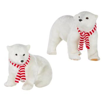 Striped Scarf Artic Fuzzy Polar Bear Large Figurine