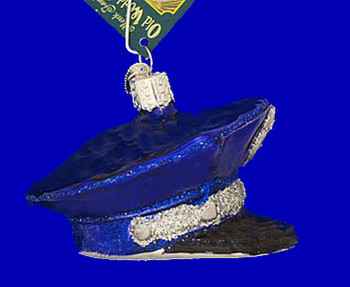 Police Officers Cap Old World Christmas Glass Ornament 32138 inset