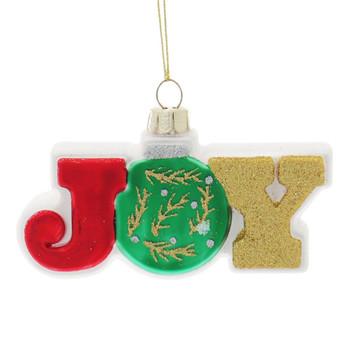 Sparkling Joy or Noel Word Sign Glass Ornament Joy Front