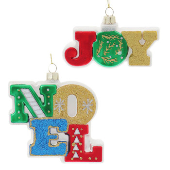 2 pc Sparkling Joy and Noel Sign Glass Ornaments