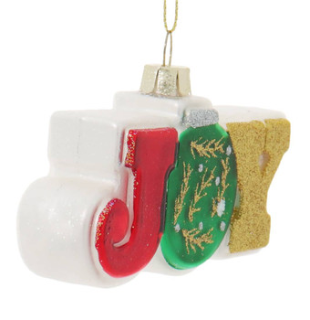 2 pc Sparkling Joy and Noel Sign Glass Ornaments Joy Side Front