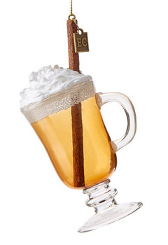 Winter Cocktail Hot Buttered Rum Glass Ornament