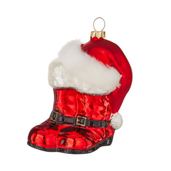 Santa Boots and Hat Glass Ornament