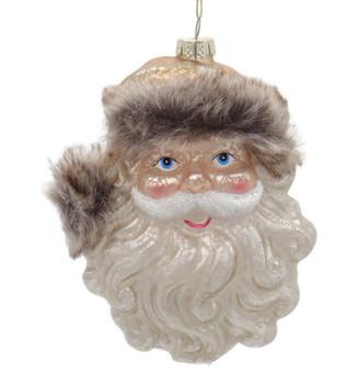 Mountain Santa Head Glass Ornament