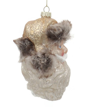 Mountain Santa Head Glass Ornament Side
