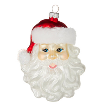 Cheerful Santa Head Glass Ornamwent