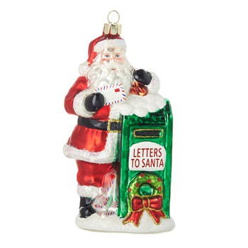 Letters to Santa Mailbox Glass Ornament
